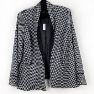 WORTHINGTON Black Printed Open Front Blazer Jacket